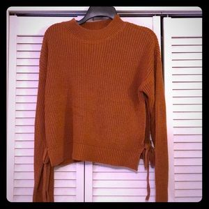 NWT Cozy mock neck pullover sweater with side ties
